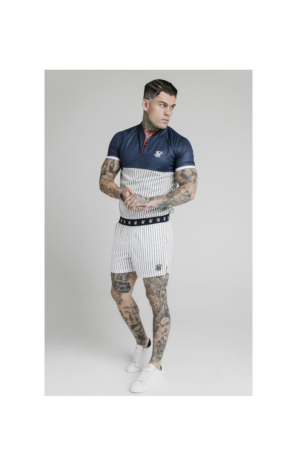 SikSilk Eyelet Elasticated Swim Shorts - White & Navy (5)