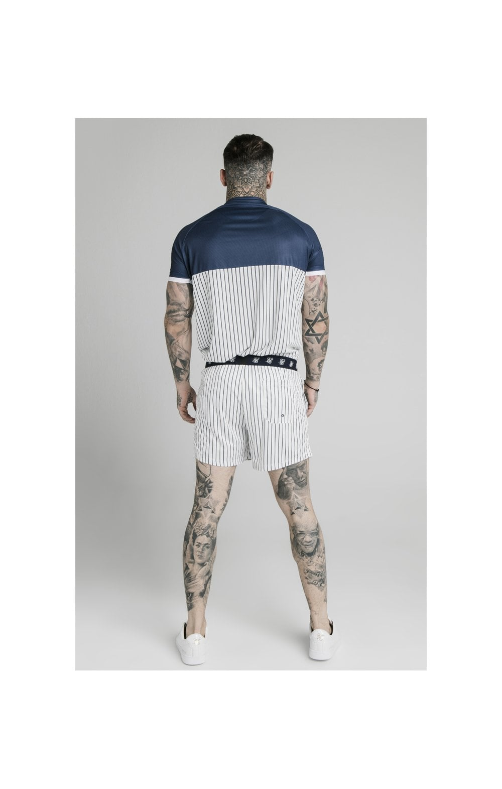 SikSilk Eyelet Elasticated Swim Shorts - White & Navy (7)