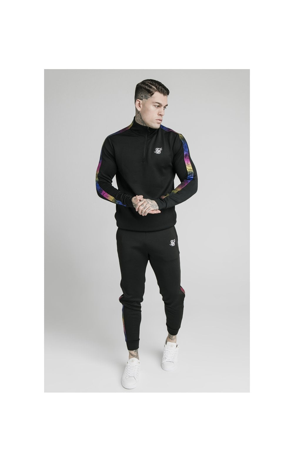 SikSilk Quarter Zip Fade Runner Funnel Neck Track Top - Black (2)