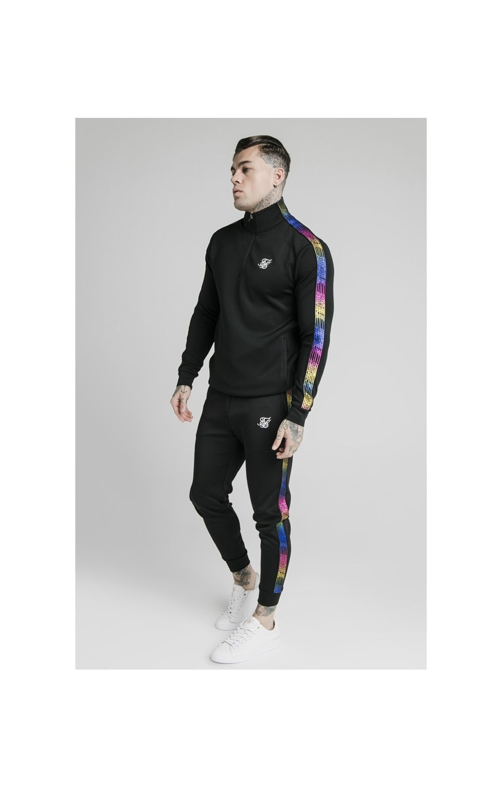 SikSilk Quarter Zip Fade Runner Funnel Neck Track Top - Black (3)