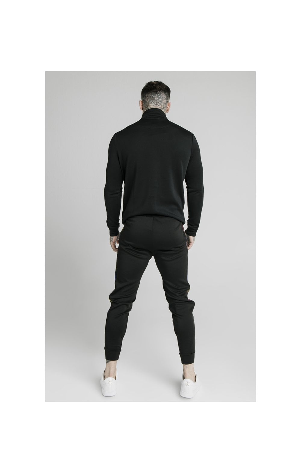 SikSilk Quarter Zip Fade Runner Funnel Neck Track Top - Black (4)