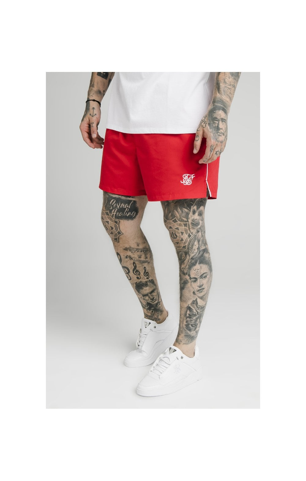 SikSilk Piping Swim Shorts – Red
