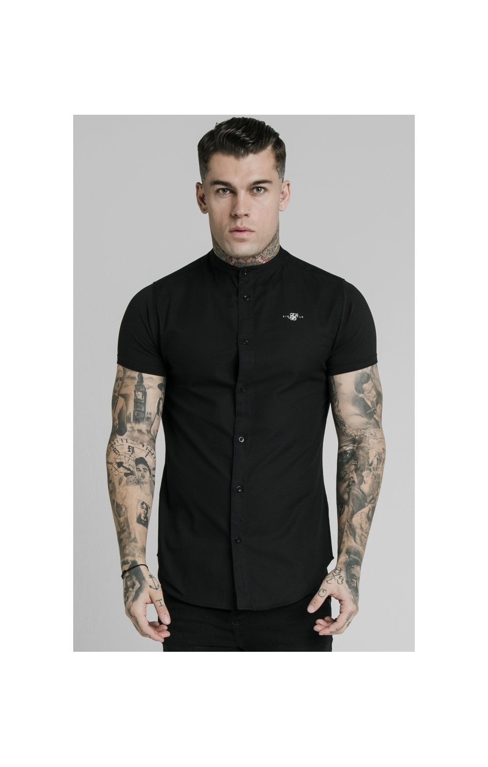 SikSilk S/S Grandad Collar Shirt – Black