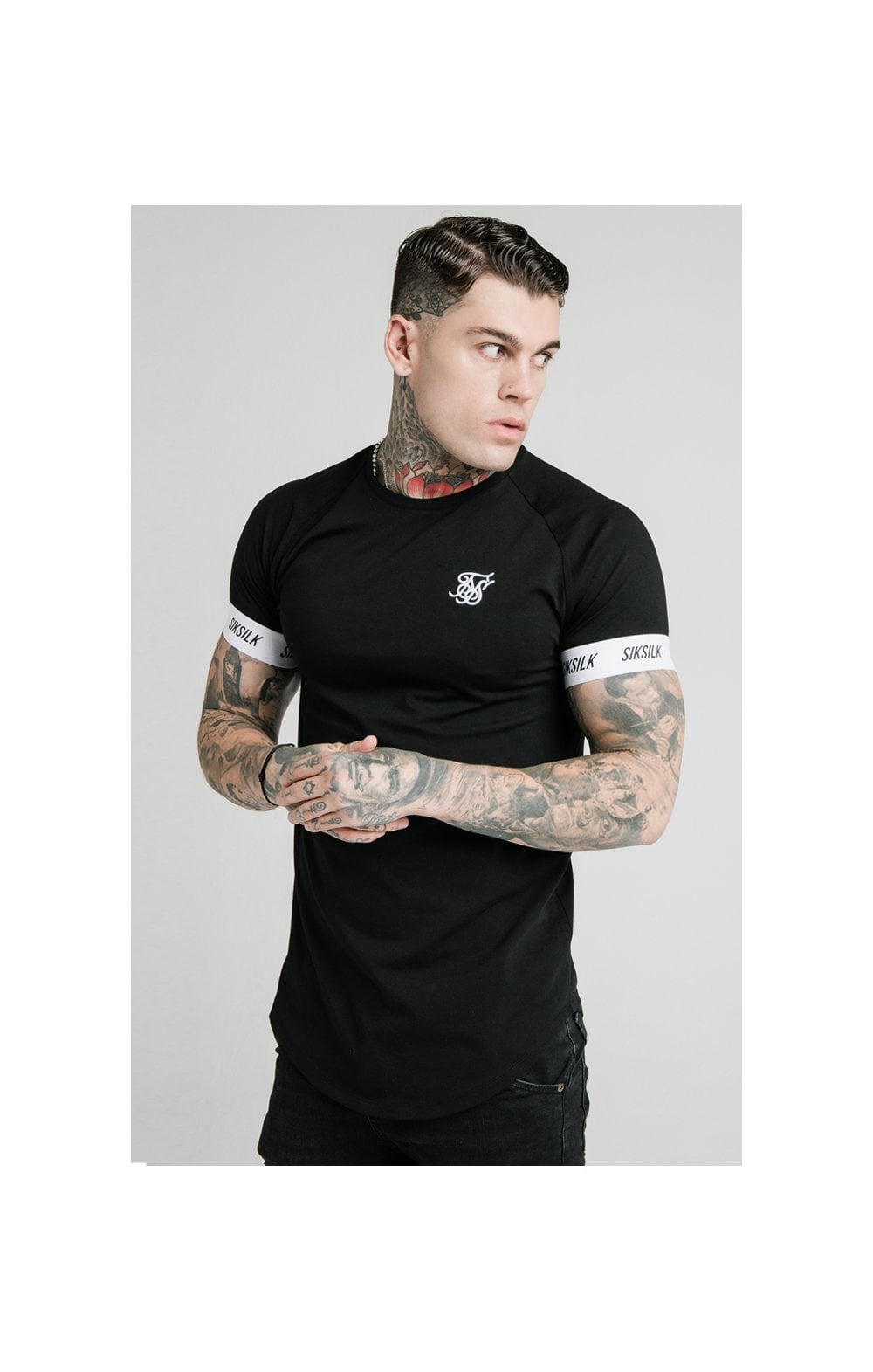 SikSilk S/S Raglan Tech Tee - Black