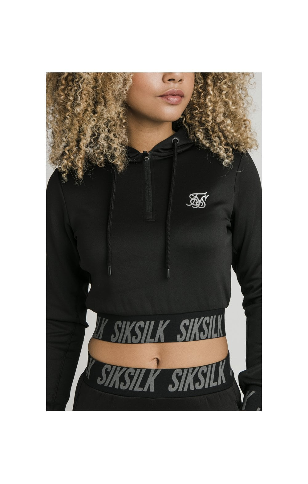 SikSilk Cropped Gym Track Top - Black