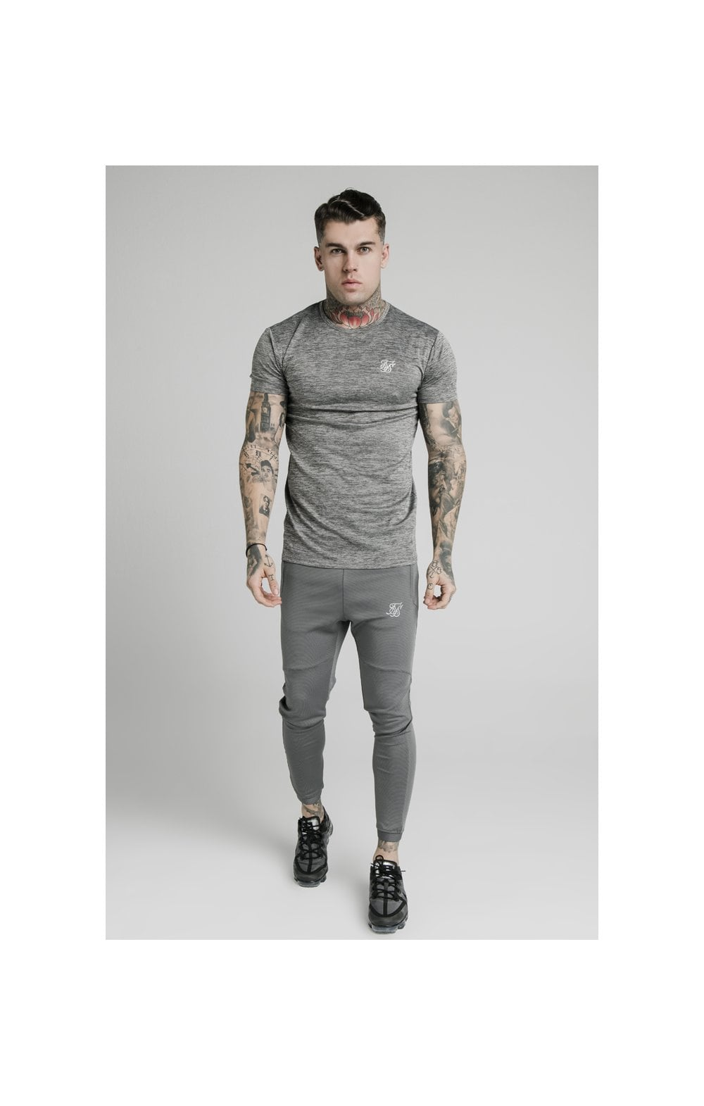 Charger l'image dans la galerie, SikSilk Active Straight Hem Gym Tee - Grey Marl (2)