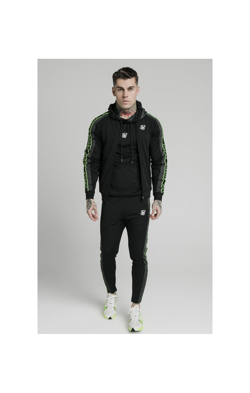 SikSilk Hyper Tape Bomber Jacket - Black & Neon Fluro (1)