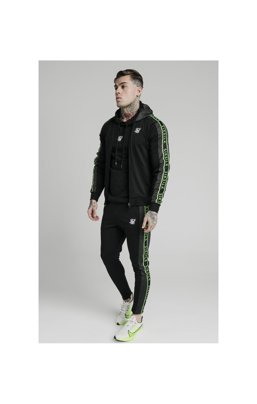 SikSilk Hyper Tape Bomber Jacket - Black & Neon Fluro (2)
