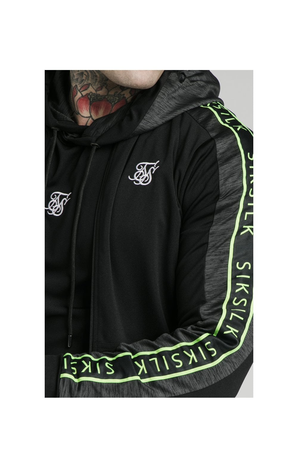 SikSilk Hyper Tape Bomber Jacket - Black & Neon Fluro (5)