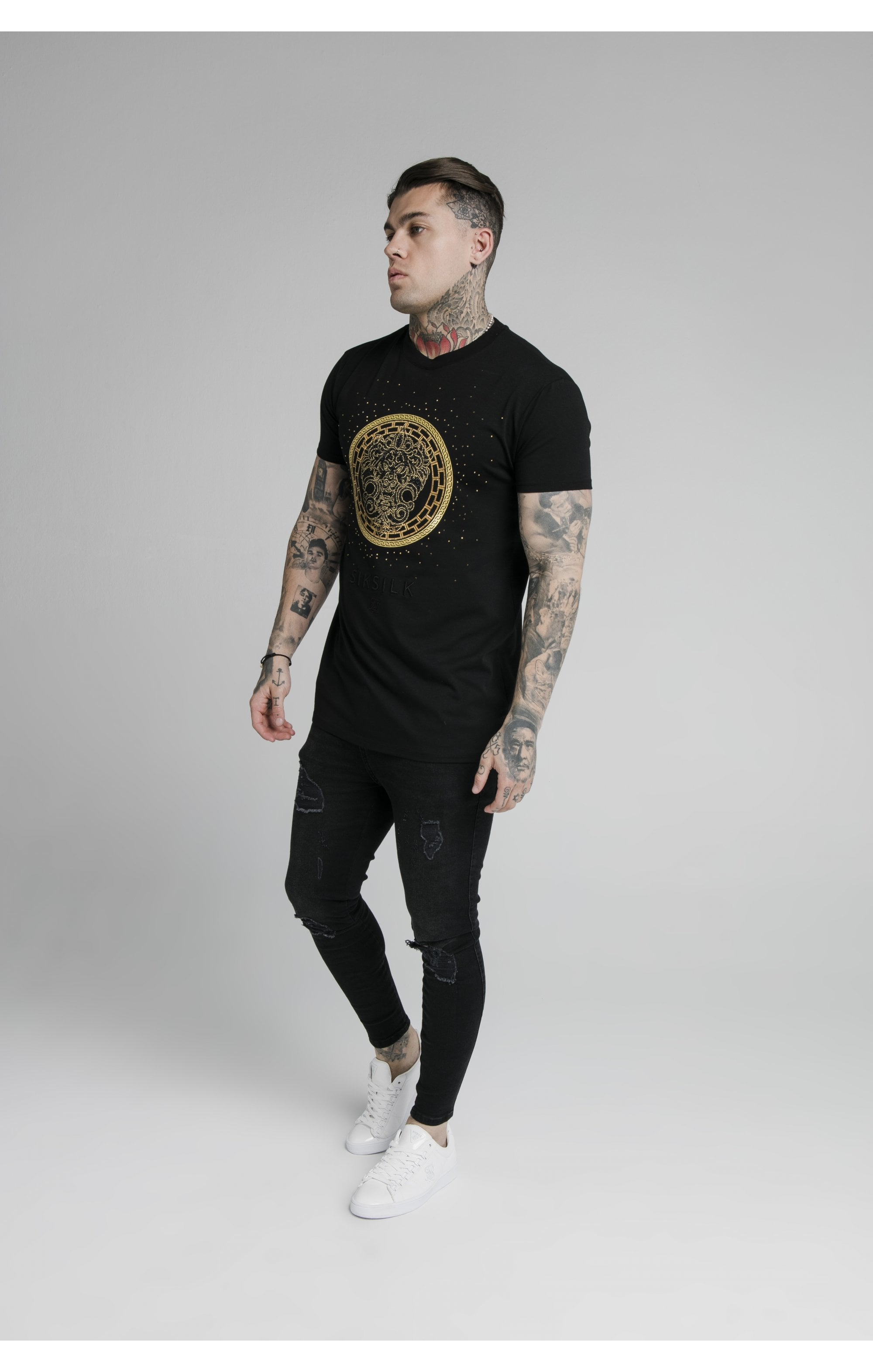 SikSilk Rhinestone Lion Tee - Black (4)