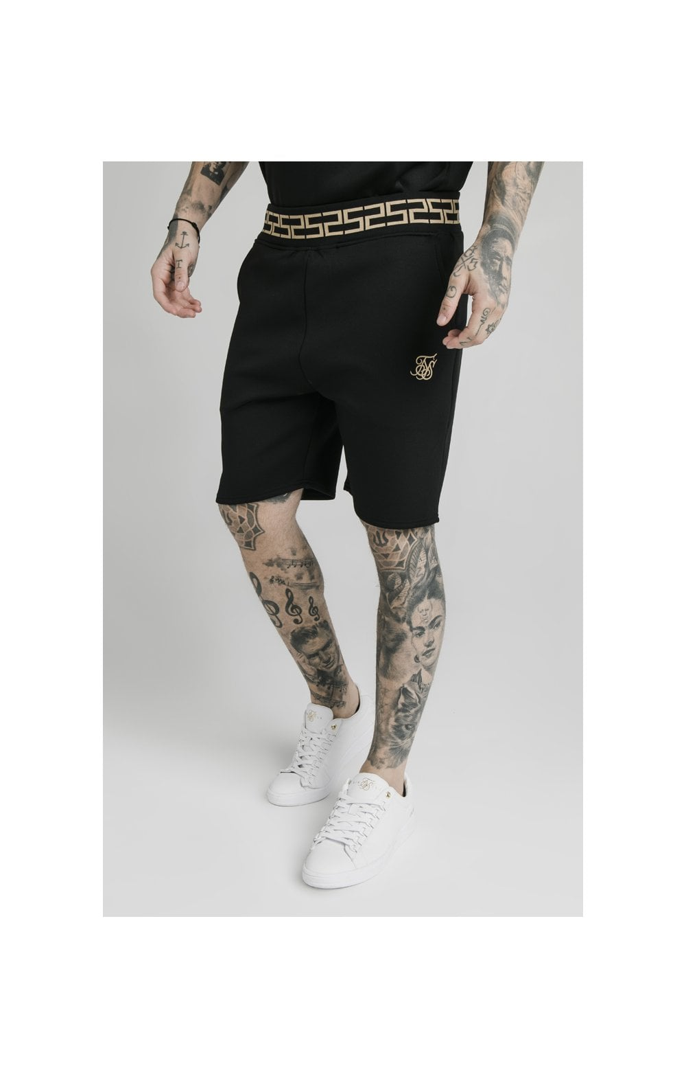 Charger l'image dans la galerie, SikSilk Chain Rib Relaxed Shorts - Black