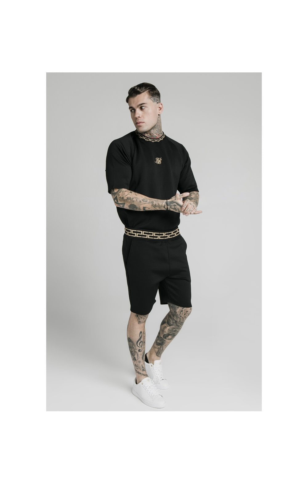 Charger l'image dans la galerie, SikSilk Chain Rib Relaxed Shorts - Black (2)