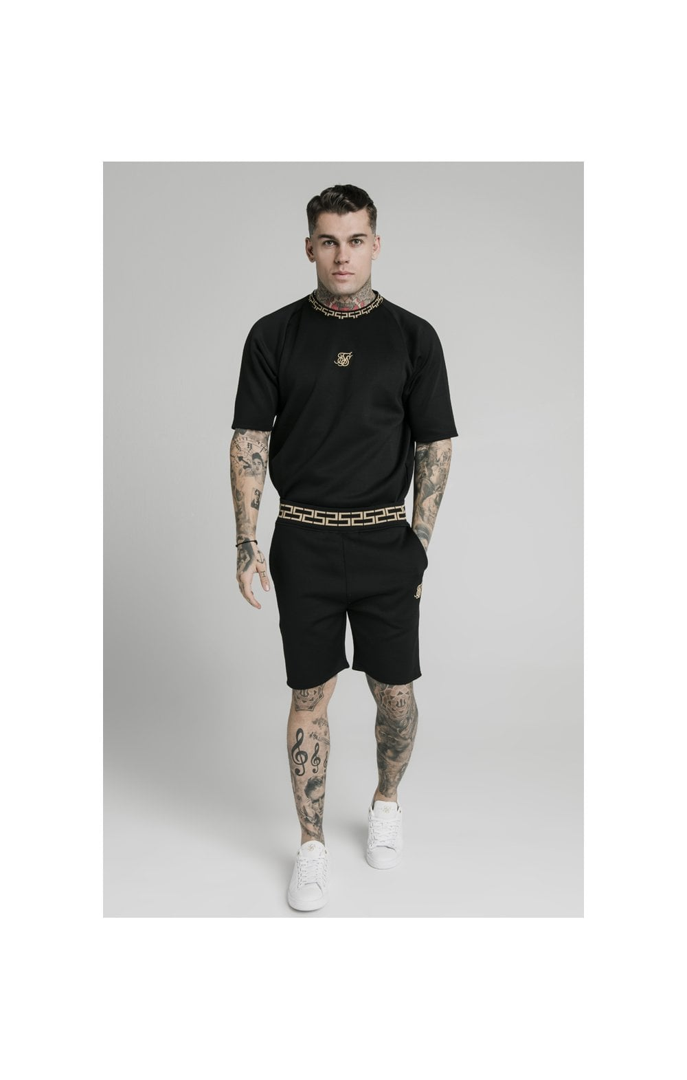 Charger l'image dans la galerie, SikSilk Chain Rib Relaxed Shorts - Black (1)