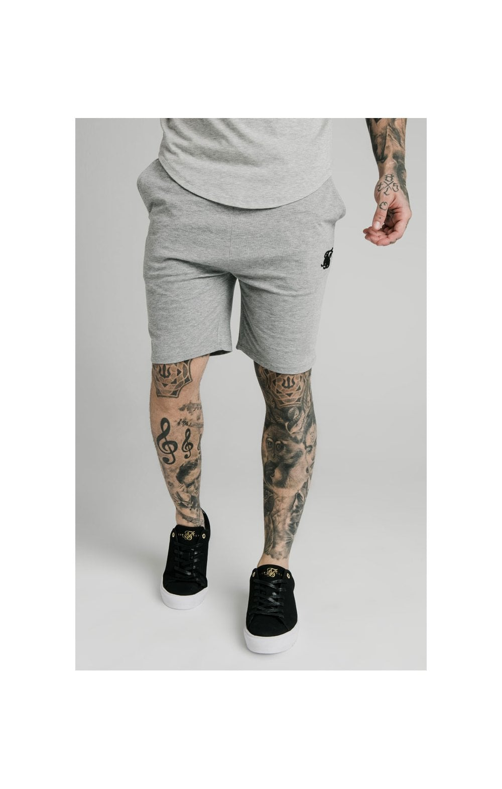 SikSilk Jersey Shorts - Grey Marl (1)