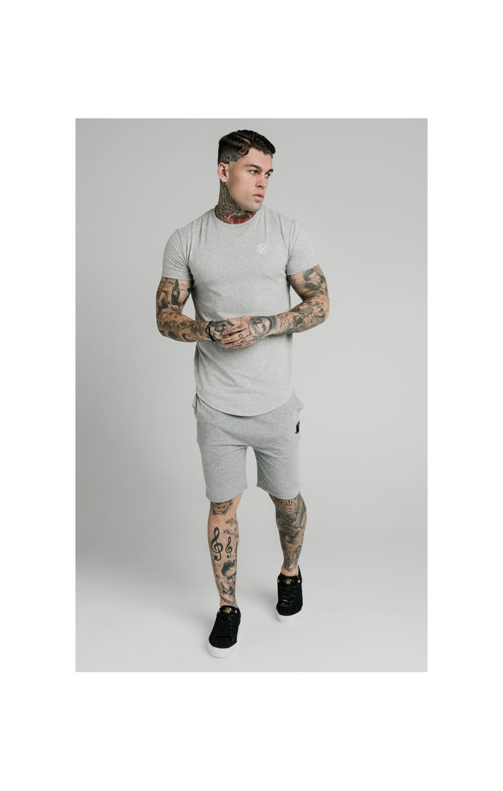 SikSilk Jersey Shorts - Grey Marl (5)