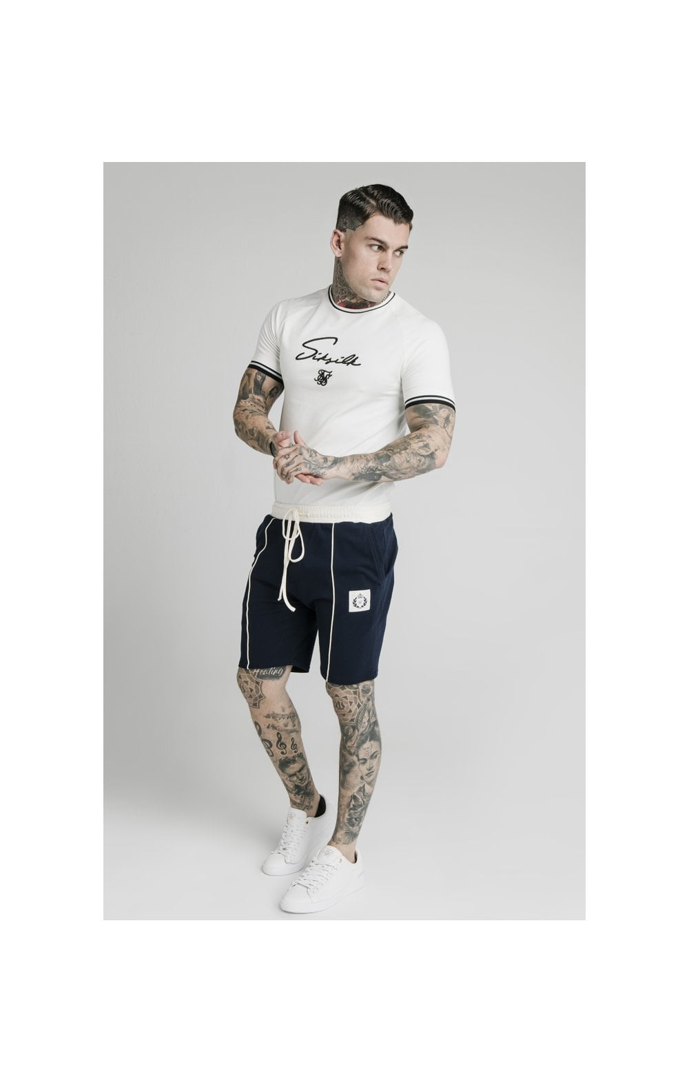SikSilk Signature Piped Tech Tee - Off White (2)