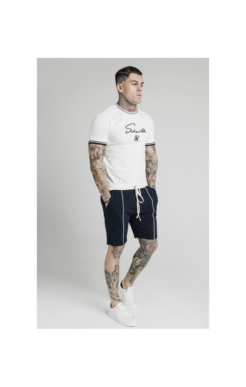SikSilk Signature Piped Tech Tee - Off White (3)