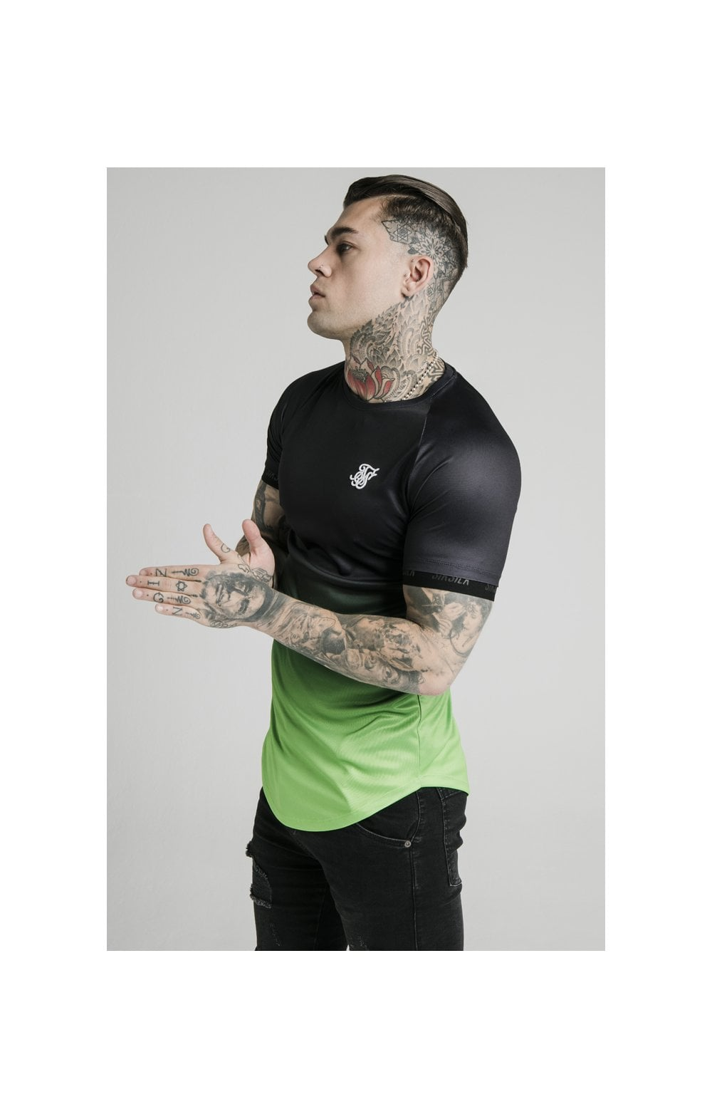 SikSilk S/S Fade Tech Tee - Black & Fluro