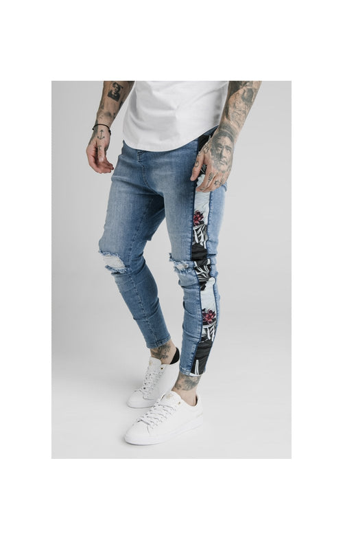 SikSilk Drop Crotch Side Panel Denims - Midstone
