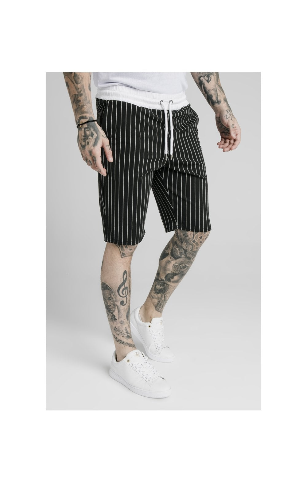 SikSilk Chino Elasticated Long Shorts - Black & White (1)