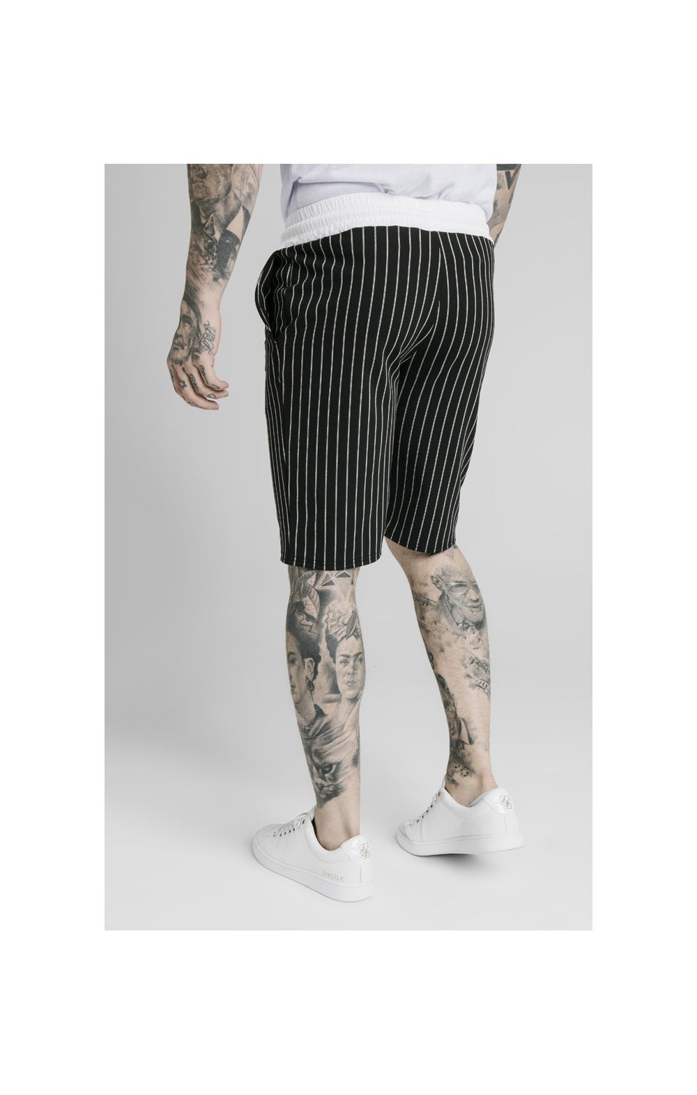SikSilk Chino Elasticated Long Shorts - Black & White (3)