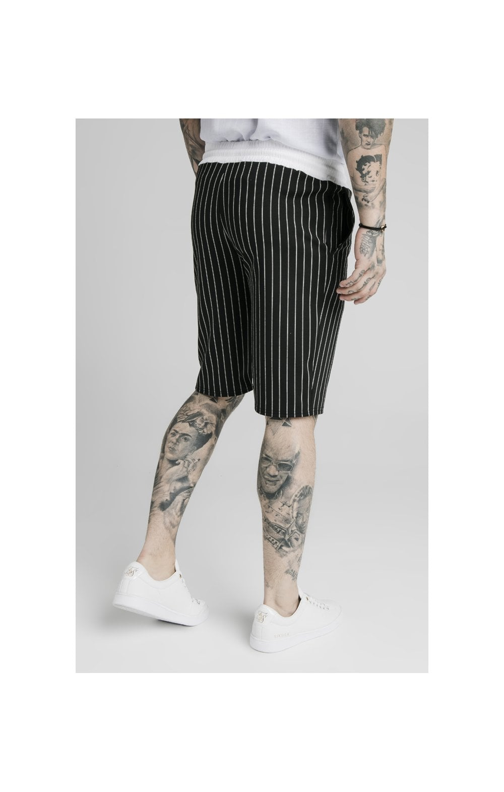 SikSilk Chino Elasticated Long Shorts - Black & White (4)