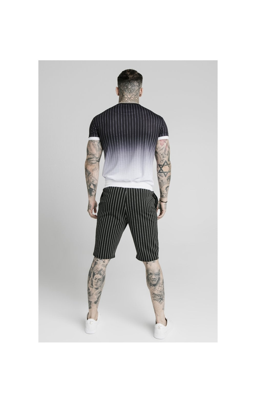 SikSilk Chino Elasticated Long Shorts - Black & White (5)