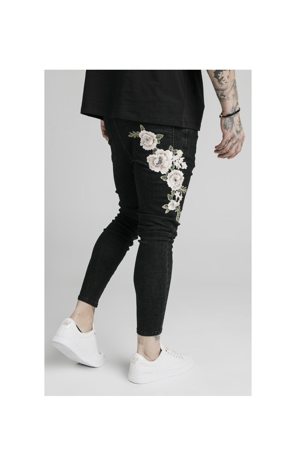 SikSilk Drop Crotch Pleated Appliqu Denims - Black (2)
