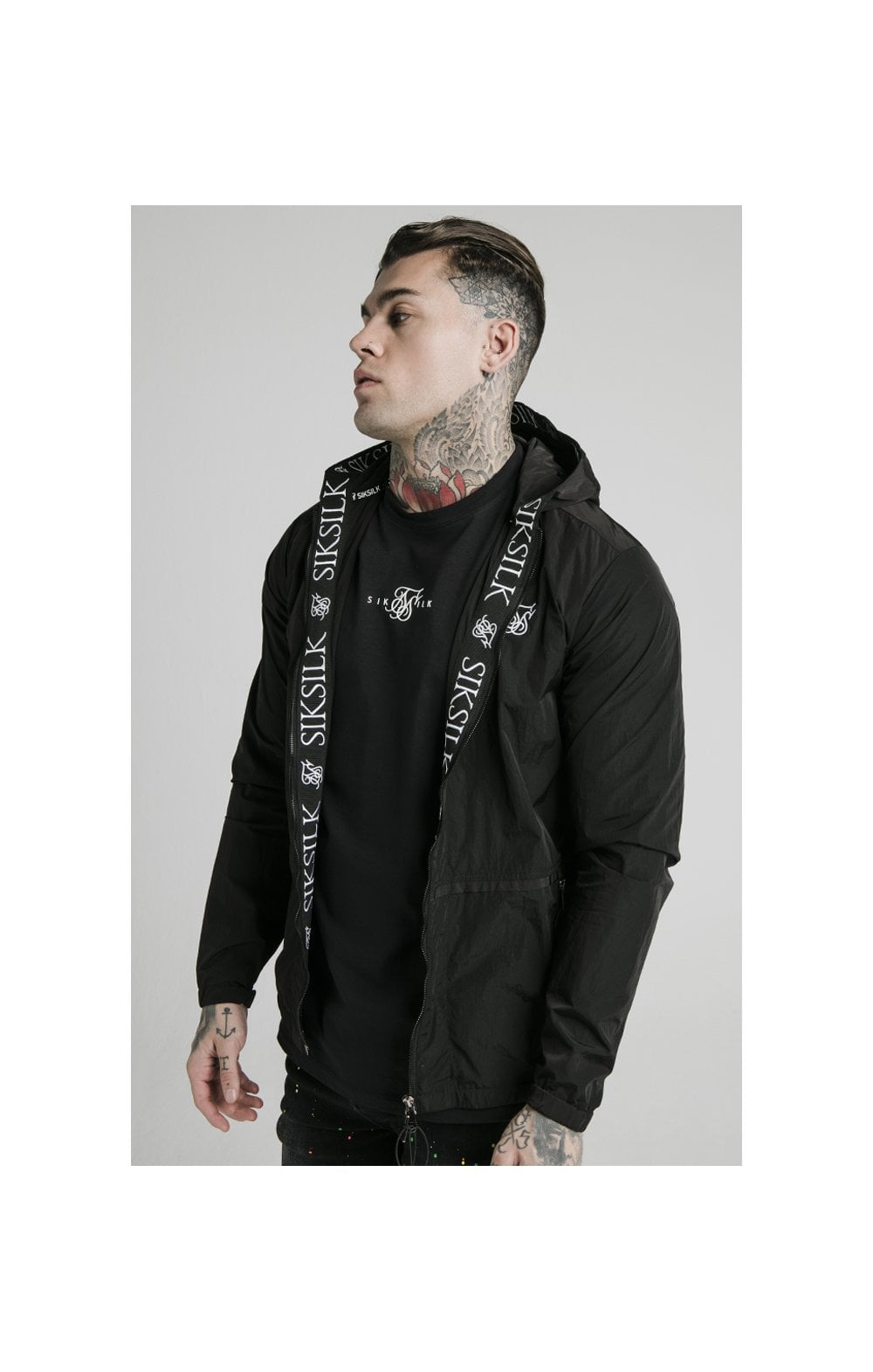 SikSilk Zip Through Windbreaker Jacket - Black