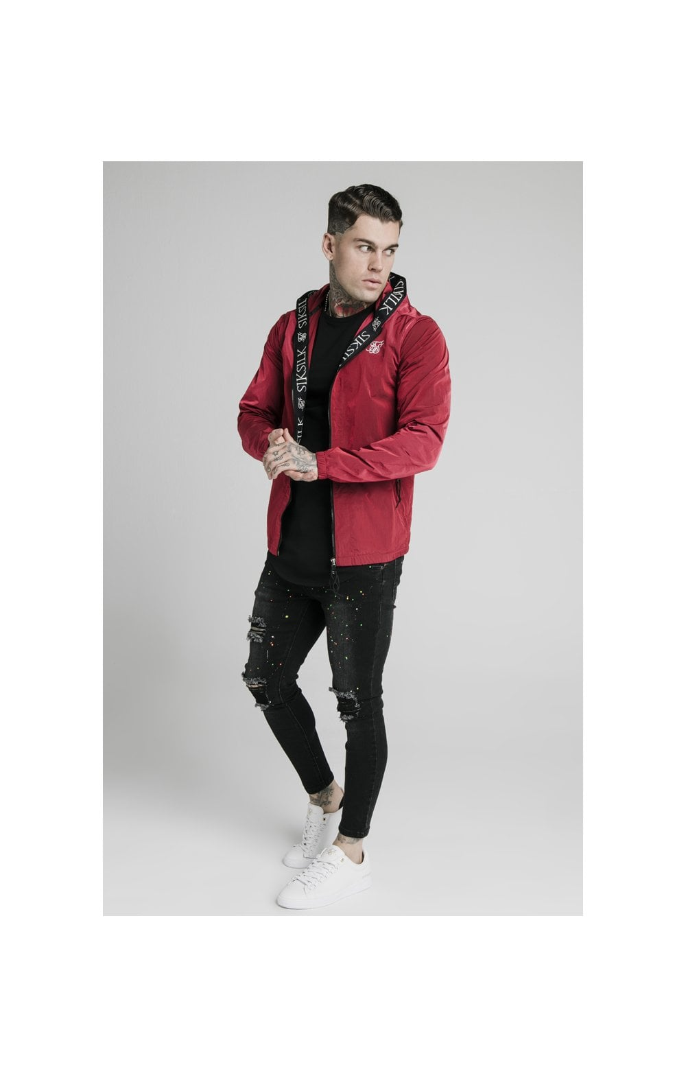 SikSilk Zip Through Windbreaker Jacket - Red (2)