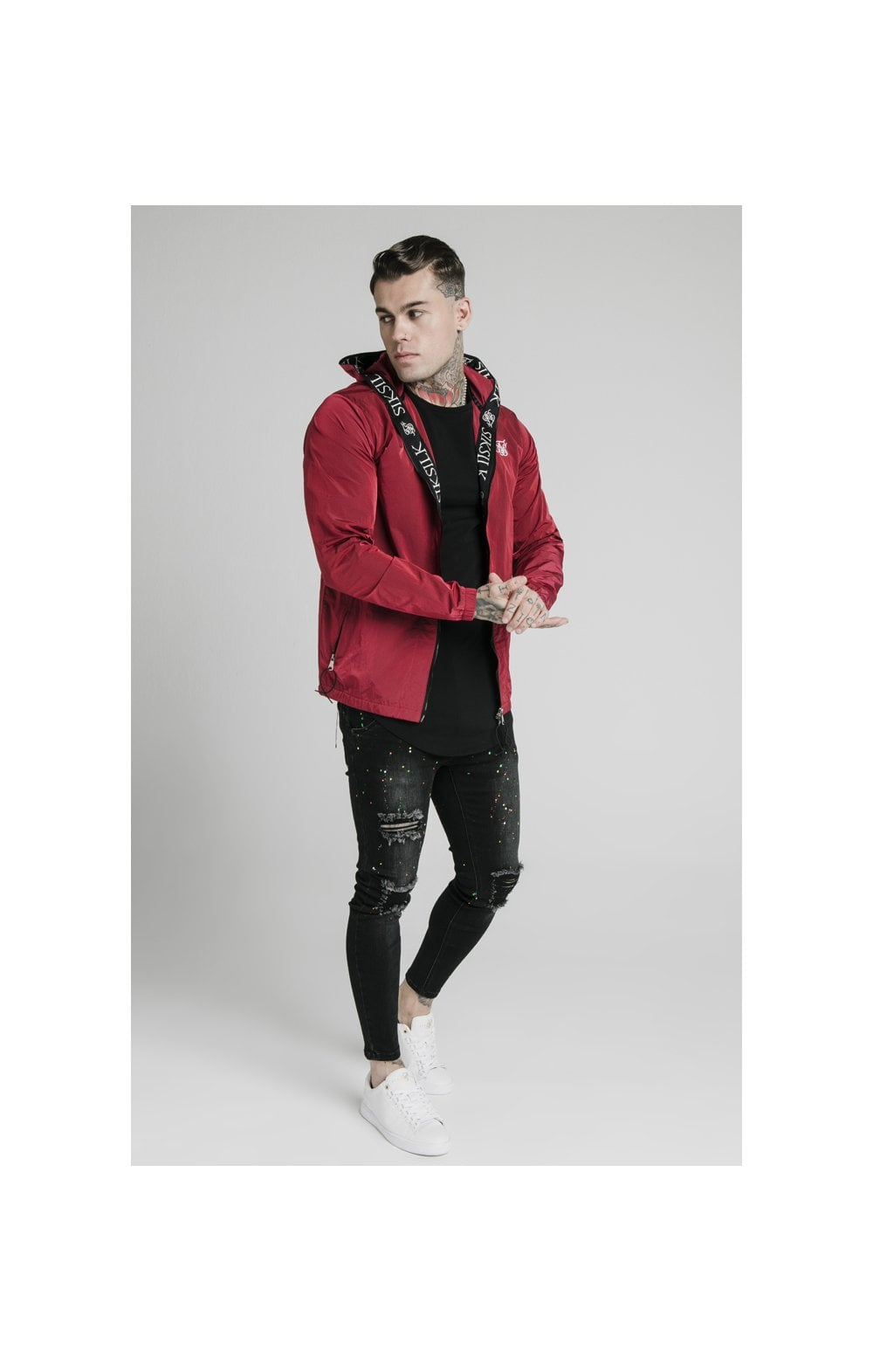 SikSilk Zip Through Windbreaker Jacket - Red (4)