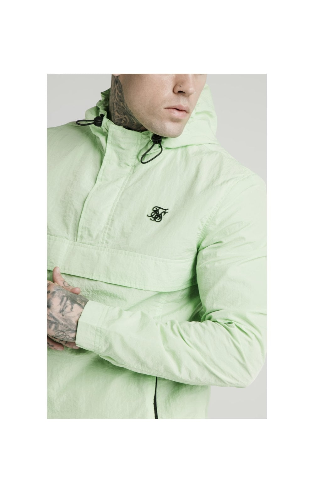 SikSilk Energy Overhead Windbreaker - Lime Green