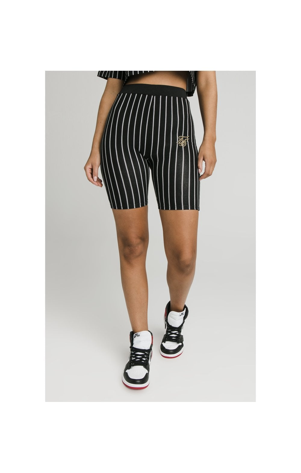 SikSilk Baseball Stripe Cycle Shorts - Black