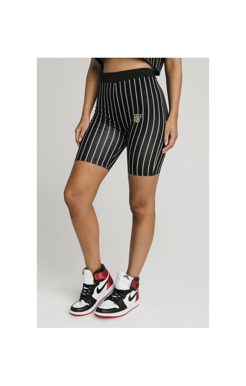 SikSilk Baseball Stripe Cycle Shorts - Black (5)