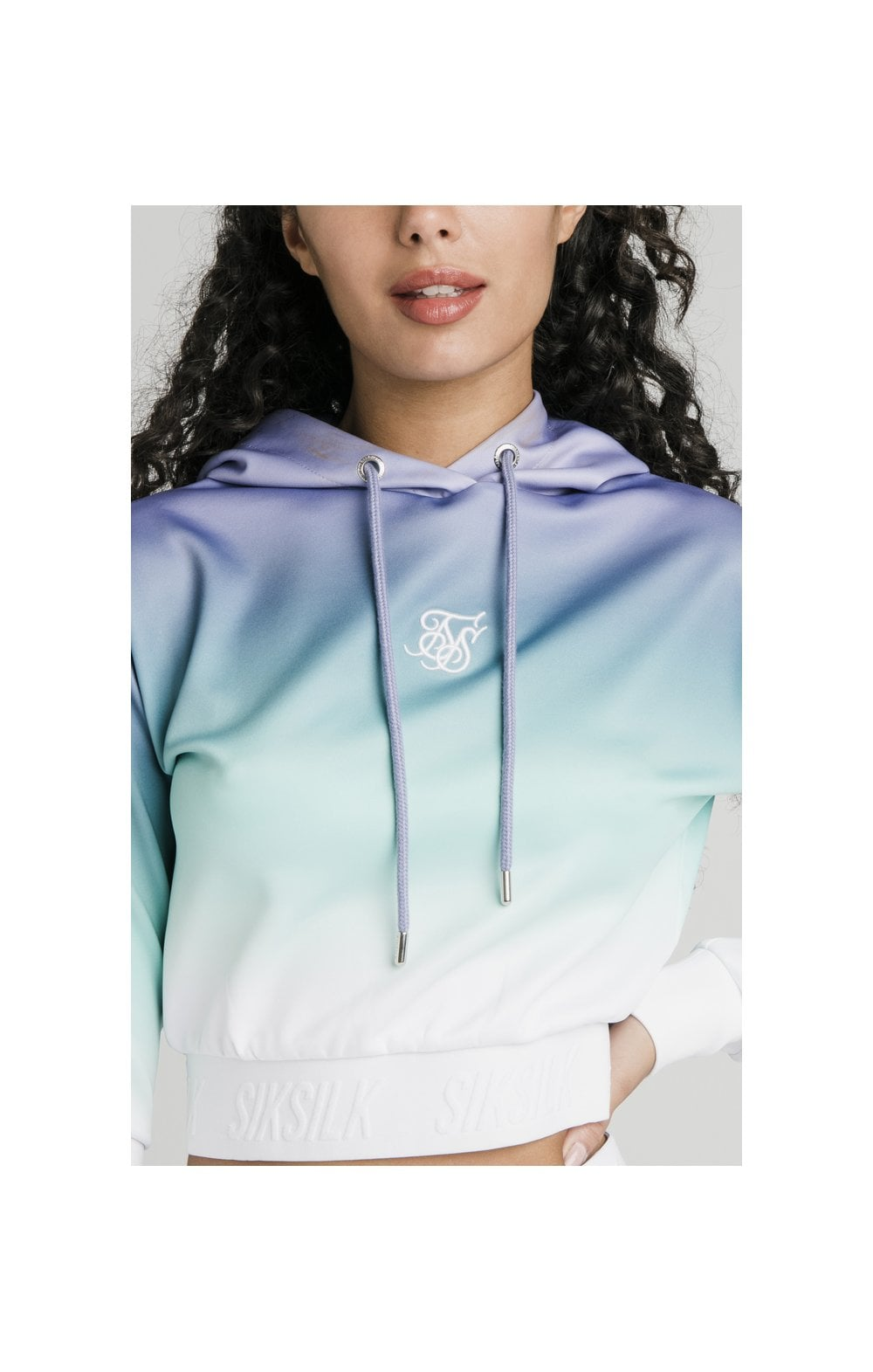SikSilk Lilac Haze Track Top - Lilac, Turquoise & White