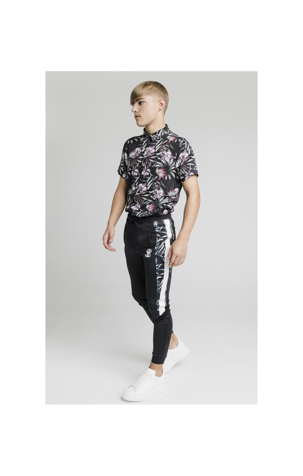 Charger l'image dans la galerie, Illusive London Dark Tropical Tape Pants - Navy (4)