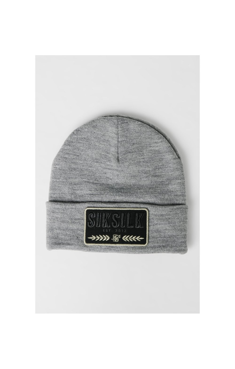 SikSilk Patch Beanie - Grey Marl