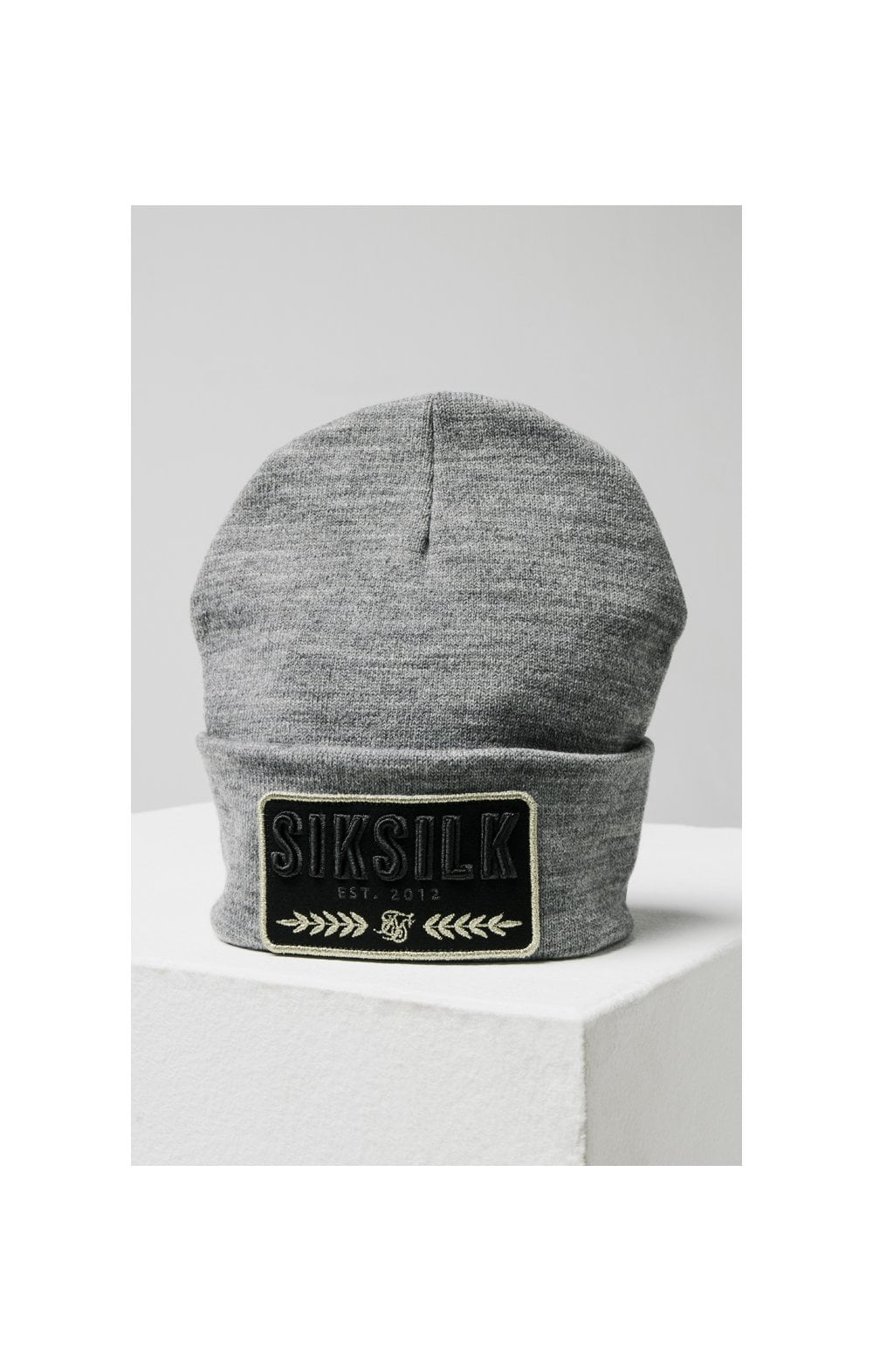 SikSilk Patch Beanie - Grey Marl (1)