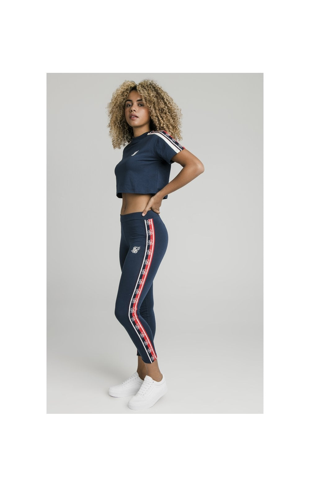 SikSilk Classic Tape Crop Tee - Navy (3)