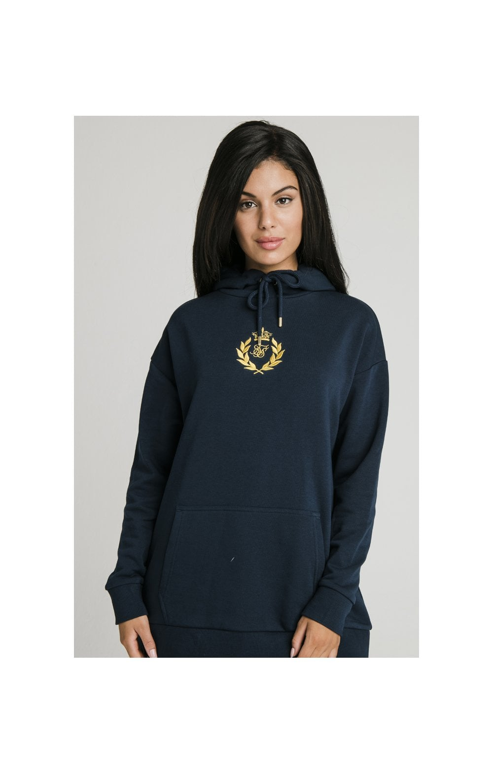 SikSilk Embroidered Oversize Hoodie - Navy