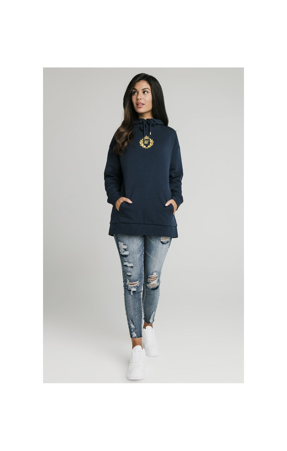 SikSilk Embroidered Oversize Hoodie - Navy (6)