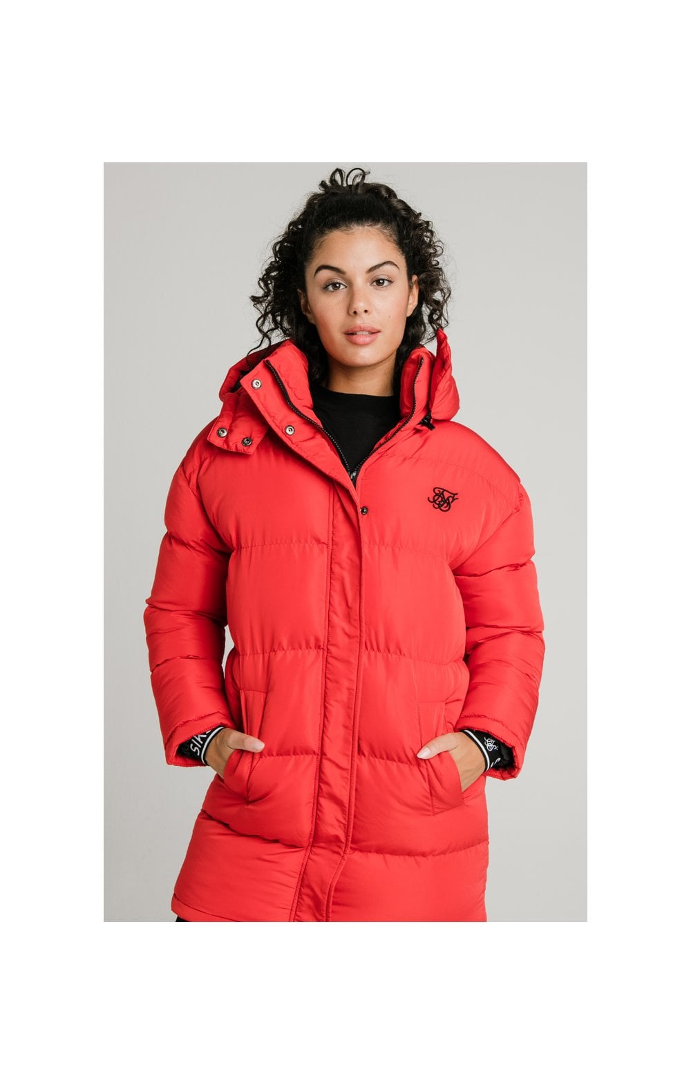 SikSilk Longline Padded Jacket - Red