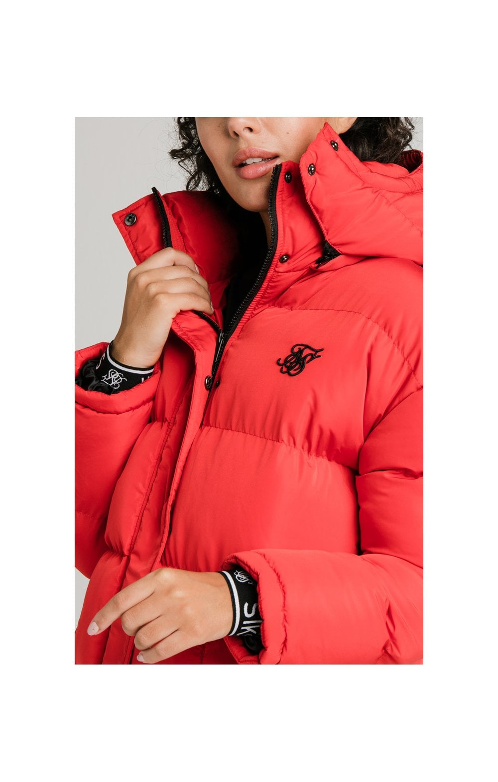 SikSilk Longline Padded Jacket - Red (1)