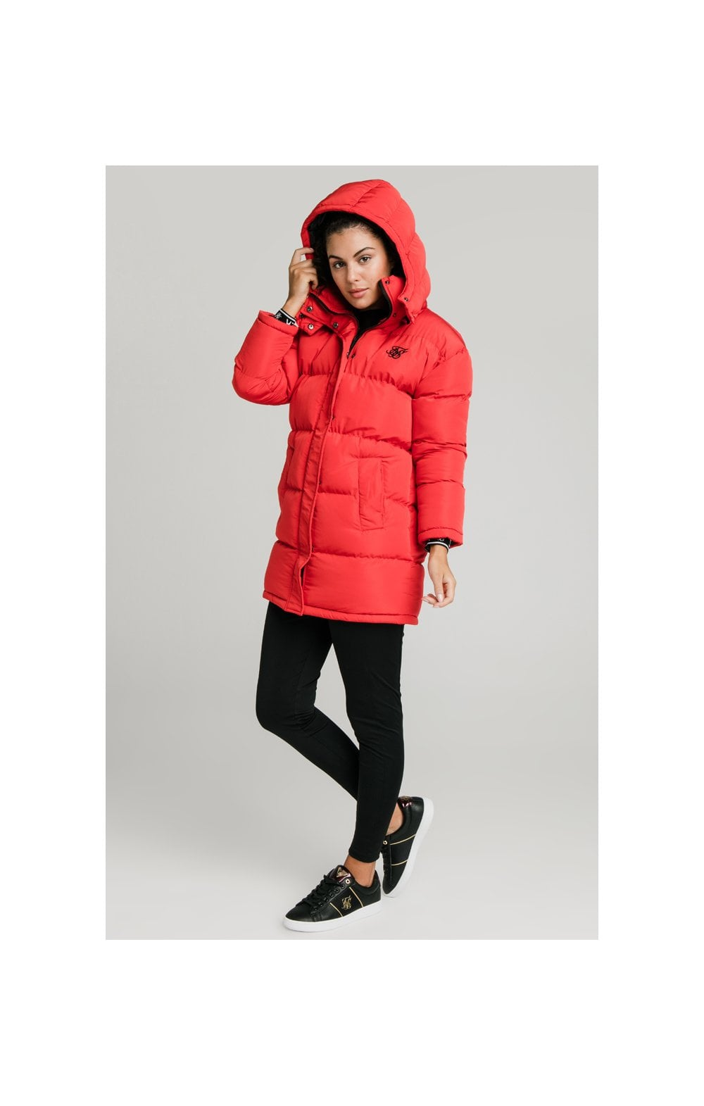 SikSilk Longline Padded Jacket - Red (2)