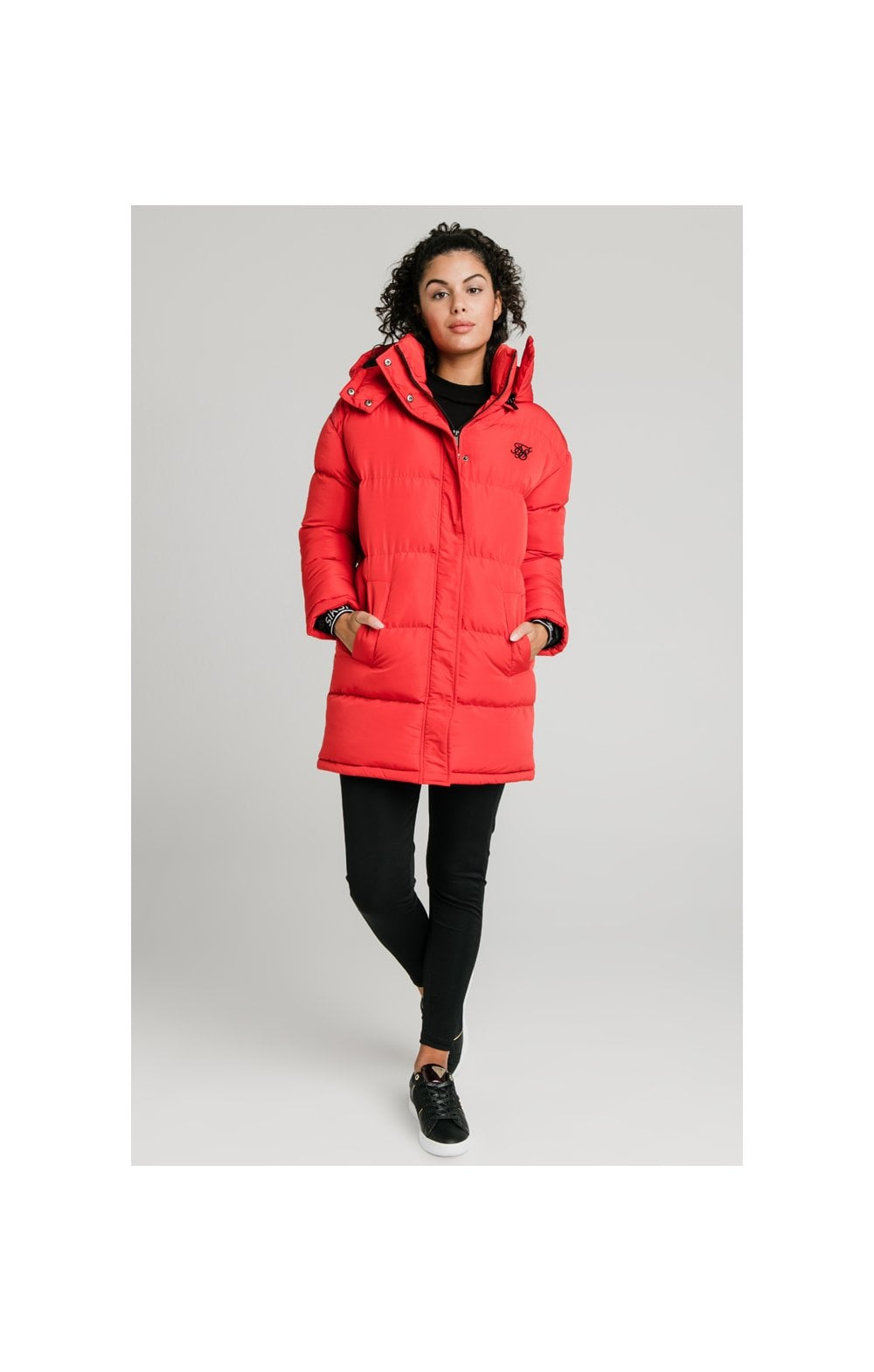 SikSilk Longline Padded Jacket - Red (3)
