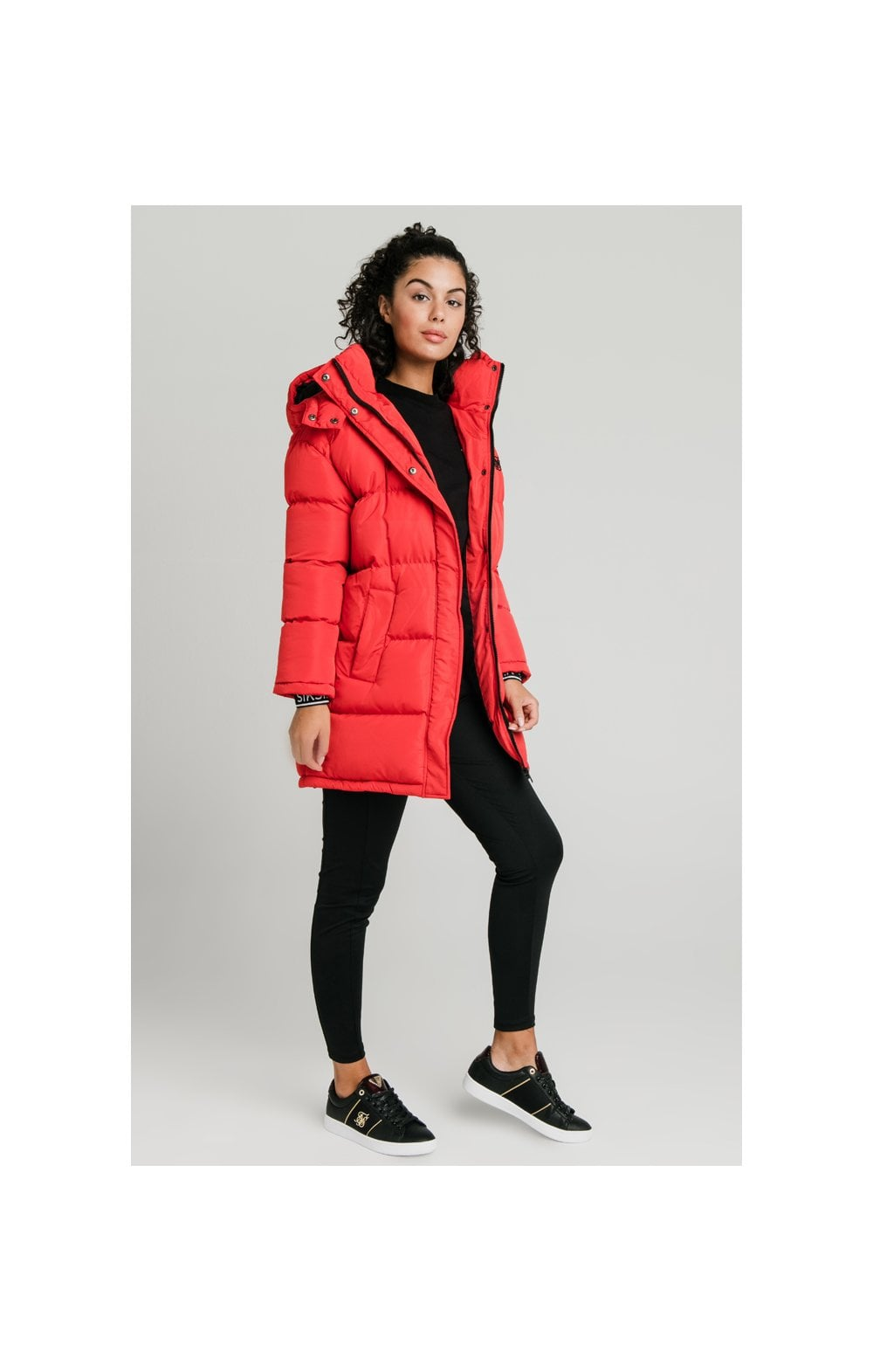 SikSilk Longline Padded Jacket - Red (4)