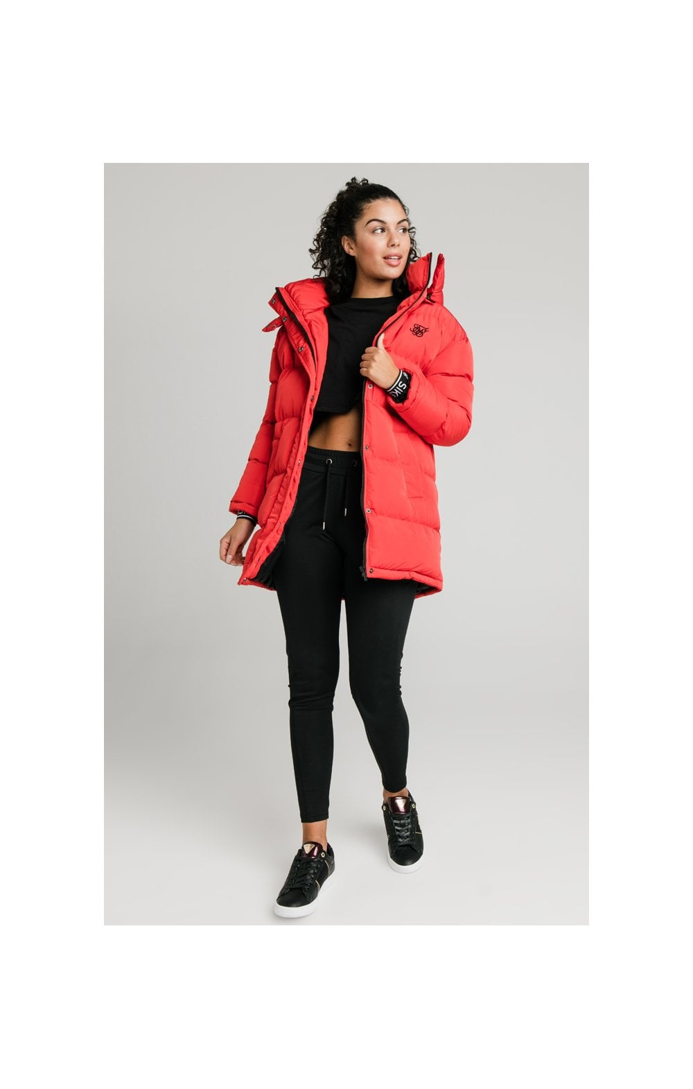 SikSilk Longline Padded Jacket - Red (6)