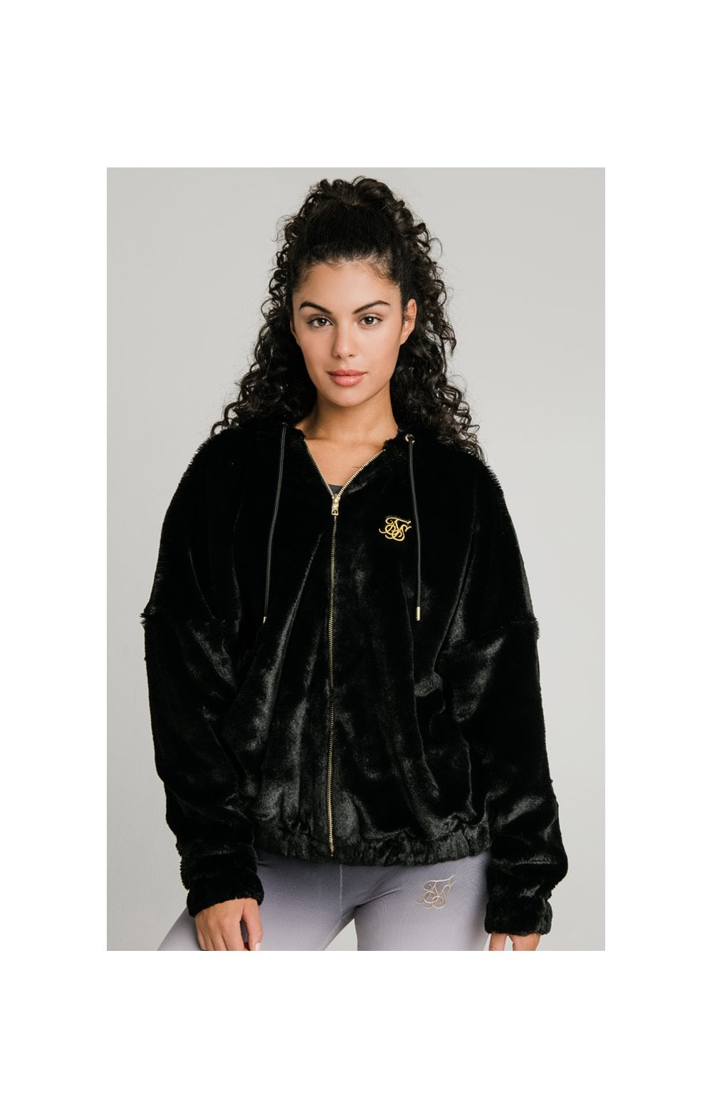 SikSilk Luxury Faux Fur Jacket - Black