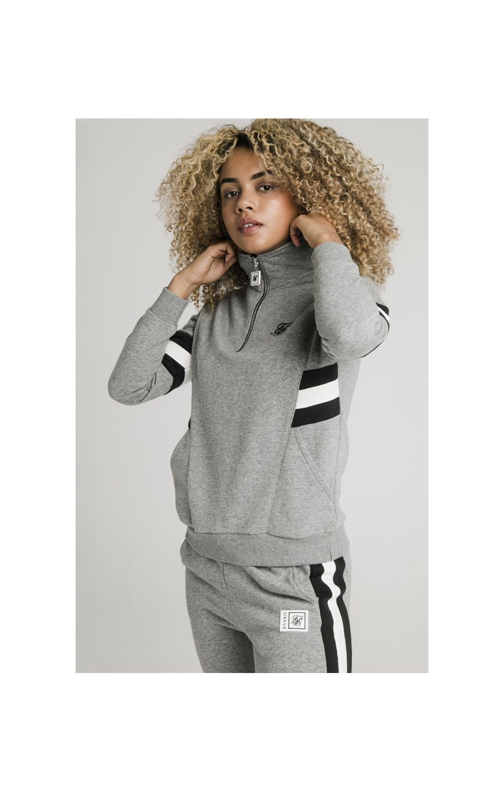 SikSilk Sports Luxe Track Top - Grey Marl