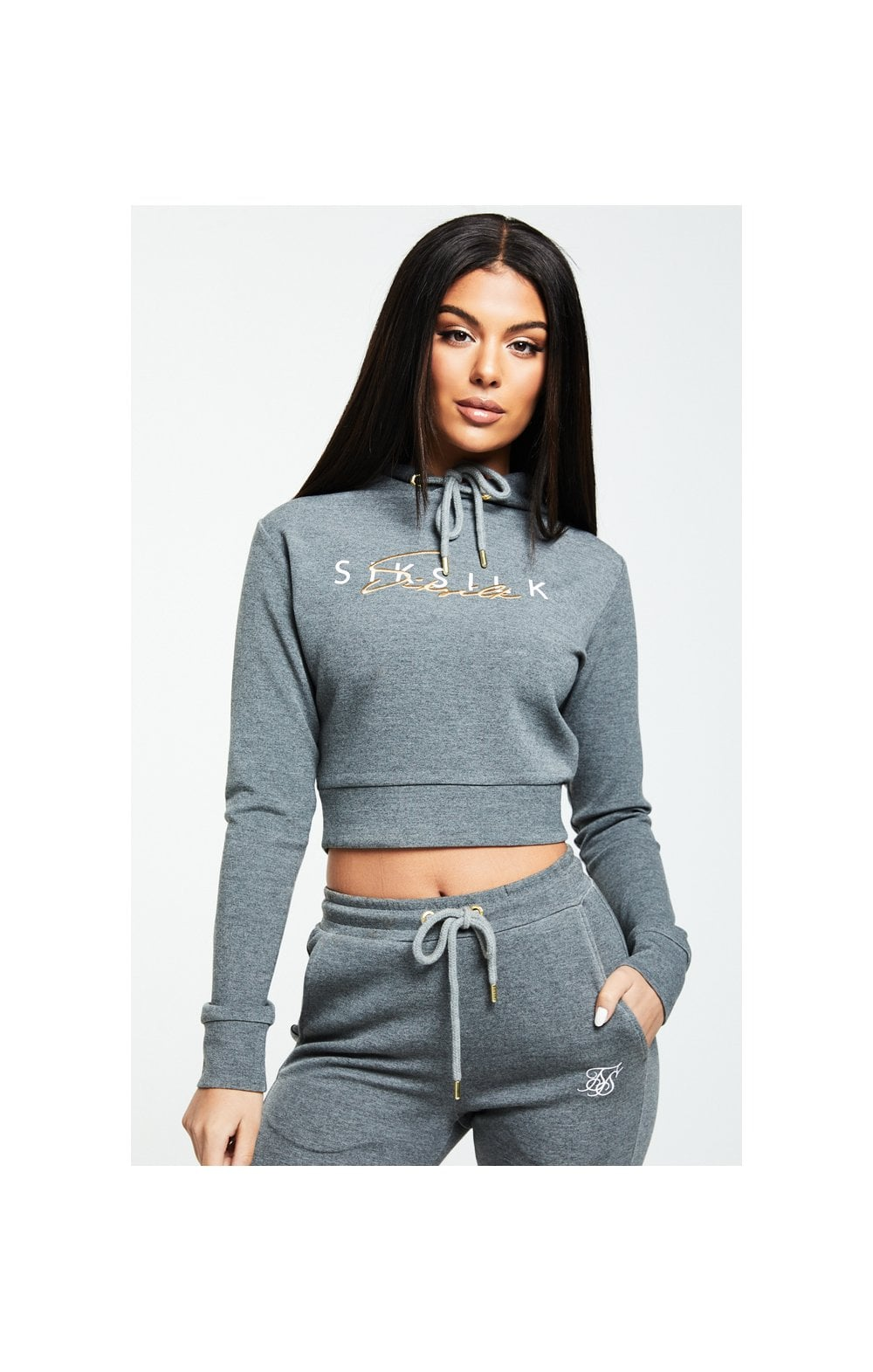 SikSilk Colour Signature Track Top - Dark Grey Marl